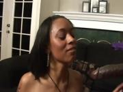 Woman Sucks Her Man's Black Cock In The Living Room