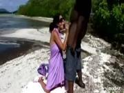 Vacation interracial lovers exhib outdoor sex