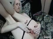 pretty blond broad makes her pussy creamy
