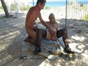 Terrace Sex Near The Beach Blasting A Load On The Wifes Belly
