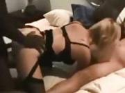Cuckold captures his kitchen sex getting spitroasted by 2 friends on his bed
