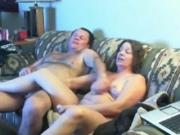 grandma porn Couple Masturbates Together On The Sofa