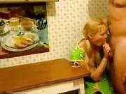 Daddy and girl roleplay fantasy having sex on the kitchen table