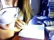 She is anal toying instead of studying
