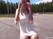 Unbelievably Cute Teen Fucked In The Ass In Public Parking Lot