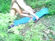 mature dark hair chick Gets Doggystyle Fucked On A Blanket In Nature