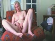 big ass blonde Plays With Her hairy hole Pussy On The Sofa