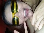 Nerdy malaysian Chick Sucks My Dick While Wearing Her Superhero Glasses