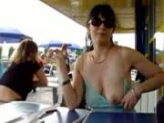Milf Flashes Her Tits While Having A Drink With Her Husband In Public