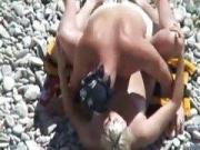 A guy nailed his slut on a beach