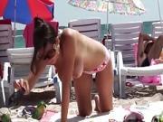 South European girl with big boobs on the beach720p
