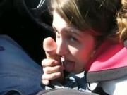 Ponytailed brunette Gives Her BF A POV Teasing sloppy head In His Car