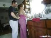 Slut bbw wife Peggy fucked while doing the dishes