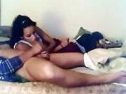 big black butts sucks her bfs cock on the bed and swallows