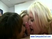 Four college girls practicing their blowjob skills