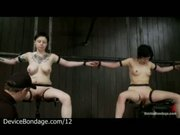 Restrained in metal devices babes machine fucked