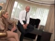 Two blondes applying for a job need to put out to secure their job