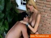 Blonde tranny gets her ass rimmed