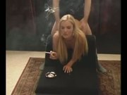 Blonde smoking and fucking from behind in the armchair