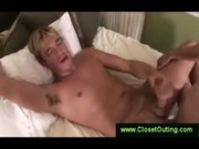 Blonde jerks himself off while fucked