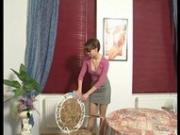 Redheaded Euro Babe needs some discipline to do her chores