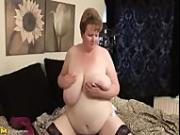 BBW MILF Lady Fabz Strips and plays with her Toy