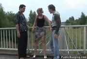 Freeway overpass threesome sex