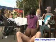 Ebony tranny sucks in public outdoor