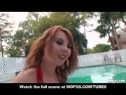 Naturaltit teen redhead girlfriend masturbates by pool in bikini