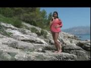 Petite Euro Teen gets naked by the beach