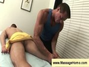 Masseuse removes towel and checks penis