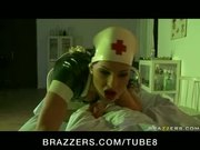 BUSTY BRUNETTE LATEX NURSE IN HEELS DEEP FUCK PATIENT IN HOSPITAL