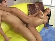 Ebony Babe Banged by Big White Dick