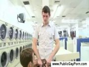 Blowjob in a public laundromat