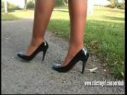 Gorgeous blonde stiletto girl Jess stimulates fetish in high stiletto heels