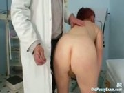 Mature Olga has her redhead hairy pussy gyno speculum exam 