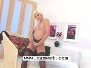 Platinum blonde minx Lola MyLuv teases and masturbates in lingerie