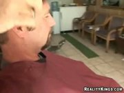 mom of two  fucked at a barber shop