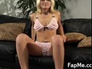 Wild blonde strokes a cock so damn good