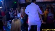 European girls in orgy with male strippers