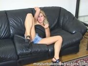 Blonde jerk off teacher spreads her legs and demos how to stroke
