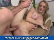 Busty slut boned on sofa