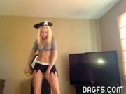 Blonde pirate girl teasing dance