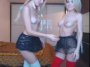 Two sexy teen lesbian hotties toying each other