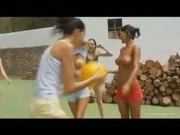 Five basketball girls fingering naked on a court