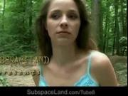 Claudie tied-up and punished hard in the woods