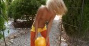 Russian blonde Sasha spreads pussy lips
