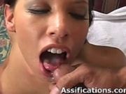 Brunette cutie swallows a mouthful of cum