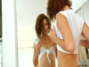 Small tit nubile in stockings masturbates