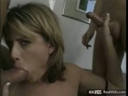 Hussy getting nasty DP after blowjob